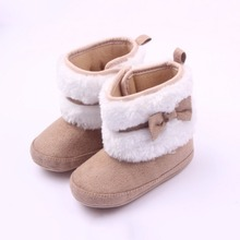 New High Boots Bowknot Kids Winter Walking Baby Girls Soft Sole Cotton Warm Shoes