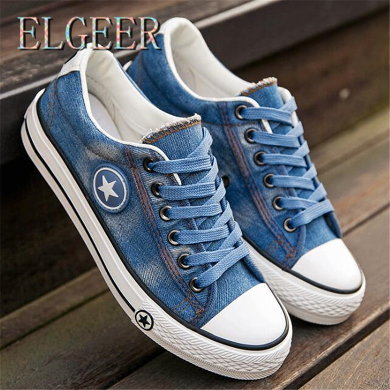 2018 spring and autumn new students casual washed denim canvas shoes - Women's Shoes