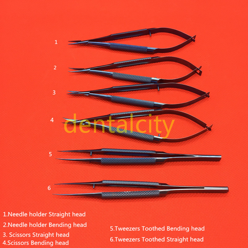 Titanium 14cm Microsurgical Ophthalmic Surgical Instruments Scissors+Needle Holders +Tweezers Dental Instruments цена