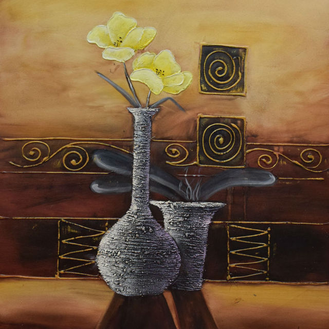 Handpainted Still Life Paintings Yellow Flower Vase Oil Painting