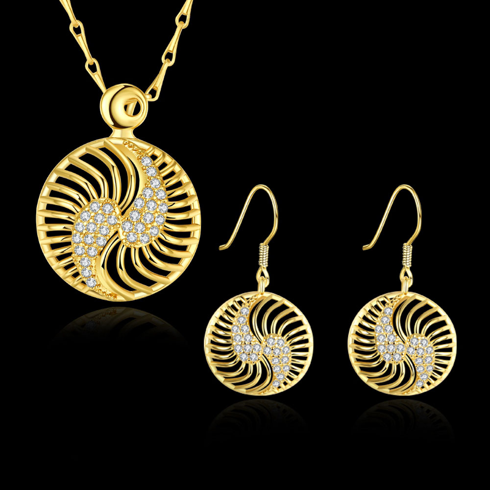 Dubai Gold Color Jewelry Sets For Women Girls Fashion Wedding Austrian  Crystal Round Necklace Earrings Jewellery Set Bijoux