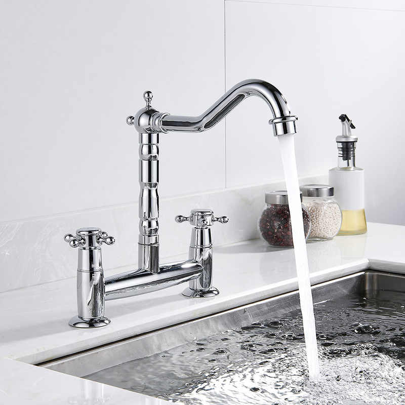 Modern Chrome Kitchen Faucet Solid Brass Dual Holder Hole Controls Sink Mixer Tap Swivel Spout Faucets Kitchen Fixture
