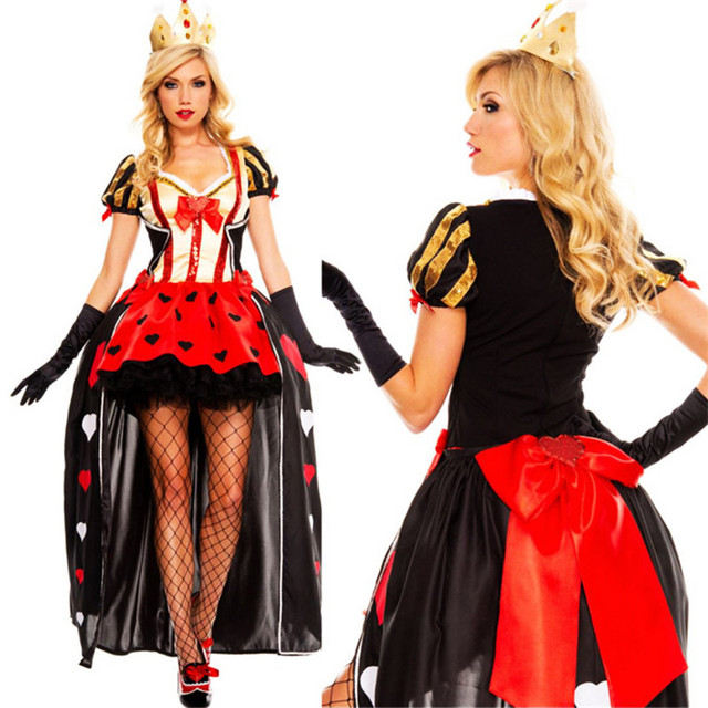 2018 new high quality sexy queen of heart dress villains halloween clothing for women club show