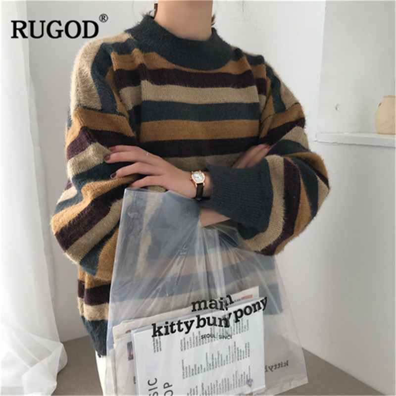 RUGOD 2019 Autumn Winter Women O-Neck Long Sleeve Sweater Ladies Patchwork Pullovers Pull Femme Hiver