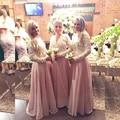 Cheap Long Sleeve Bridesmaid Dresses 2016 Vestido Madrinha De Casamento Longo Bridal Gowns Bridesmaids