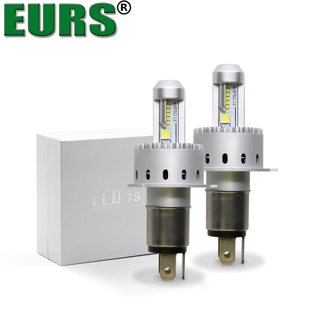 EURS(TM) 2pcs LED bulbs 7S Car headlights H1 H4 H7 H8 H9 H11 9005 9006 high quality Automobiles lamps 8000lm 40W Car styling 12V все цены