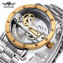 Top Luxury Selling Golden Bridge Men's Watch Skeleton Self-Wind Mechanical Wristwatch Stainless Steel Strap Dress Business Style