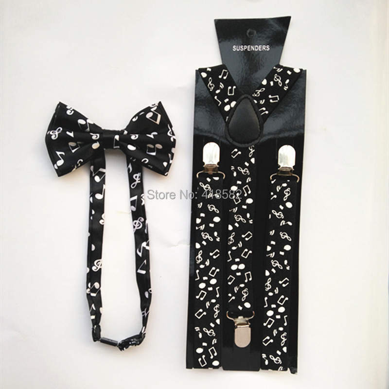 LB018- 2016 New Mens Fashionable 1 Inch Wide Black White Musical Note Braces Bow Tie Sets Women Suspender Bowtie Set