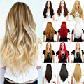 Deluxe Long 3/4 Full Wigs Two Tone Ombre Dip Dye Half Wig Natural Women's Curly Wavy Synthetic Hair