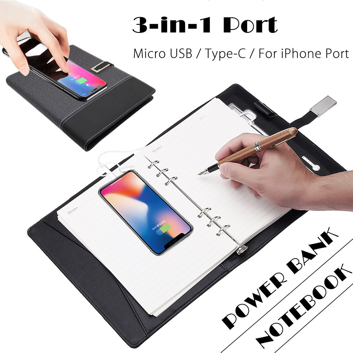 Power Bank Notebook Multi Functional Notebook with 6000 mAh Power Bank Qi Wireless Charging Note Book Binder Spiral Diary Book wp 8000 qi wireless 5000mah mobile power source bank black