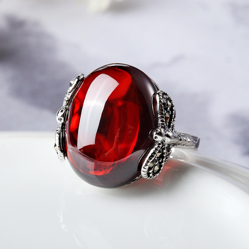 925 Sterling Silver Jewelry Silver Garnet ring finger Red Dragonfly women new