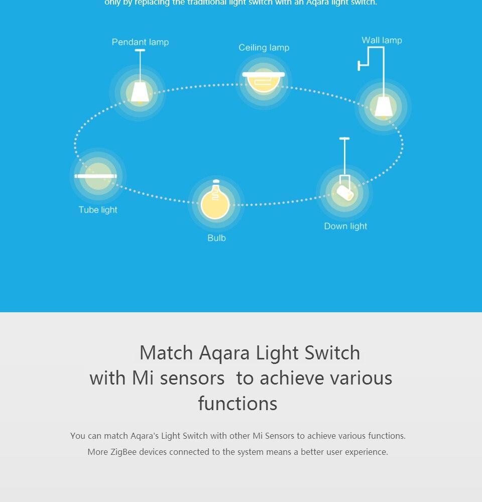 Aqara Switch Smart Light Control ZiGBee wifi wireless Wall Switch ...