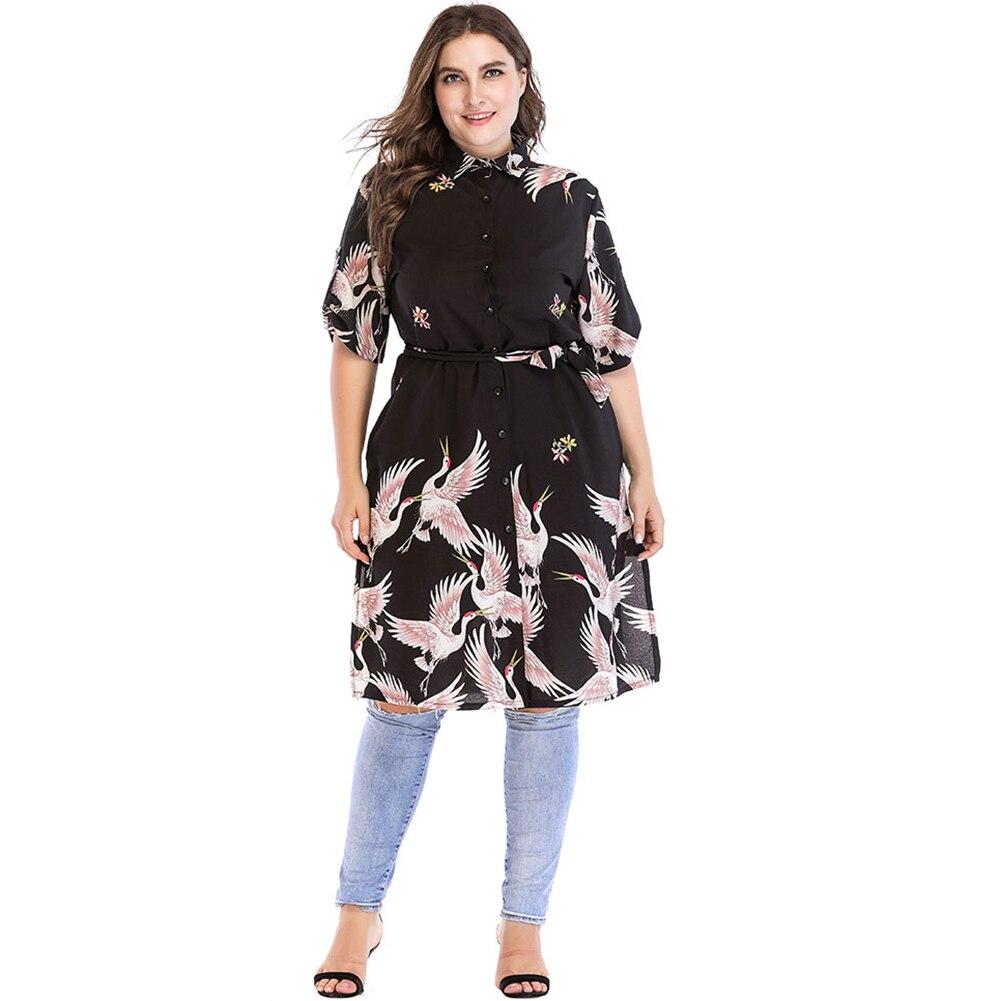0330aadb069 2019 Women Shirt Dress Bird Print Boho Dress Ladies OL Office Work ...