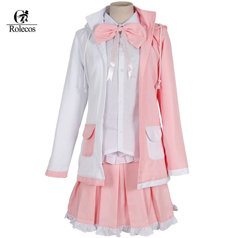 Peruca Dangan Ronpa 2 Danganronpa Monomi Cosplay Costume Pink and White