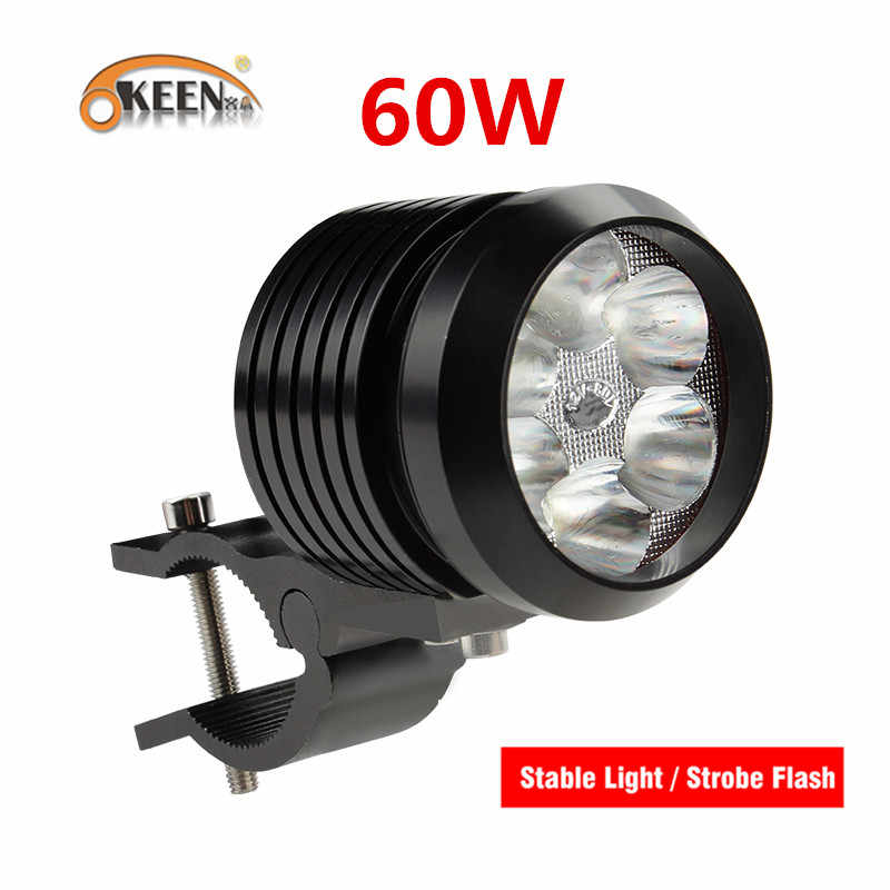 OKEEN Super Bright Motorcycle Headlamp 6LED 60W High Low Beam Motorcycle Headlight LED Spotlight Motorbike Work Fog Light Strobe