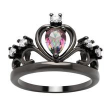 Vnfuru Rainbow Crown Ring For Women Black Gold Color Cz Rings Princess Full Size 5 to 12 ForDistribution Seller