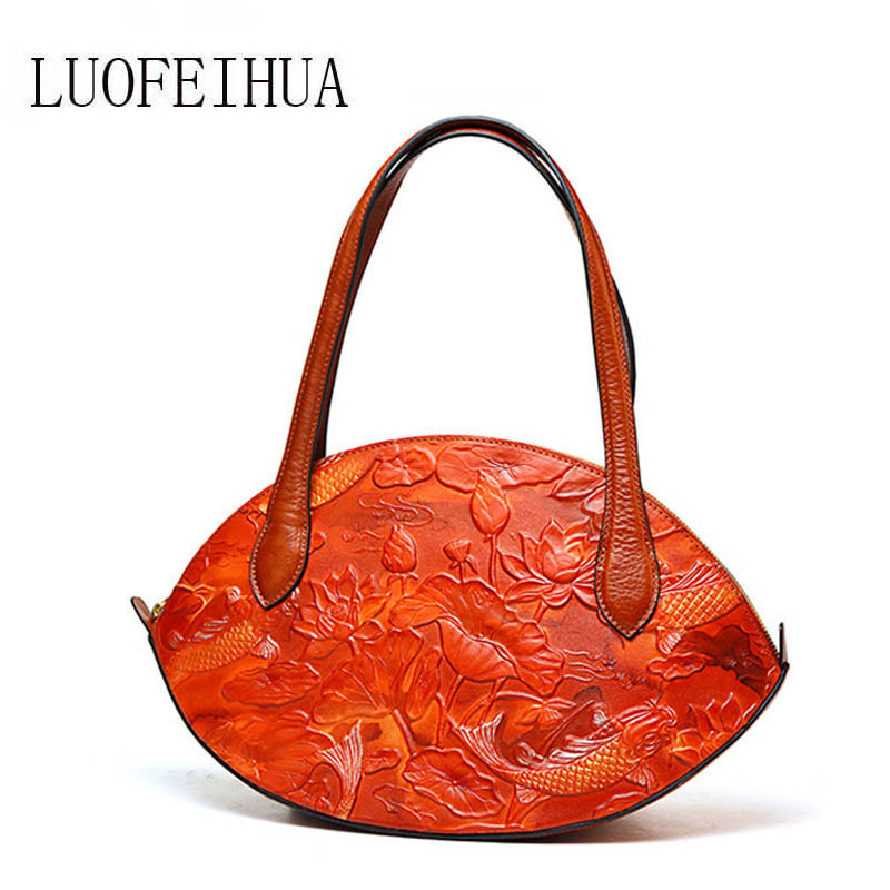 LUOFEIHUA  2019 new spring and summer Chinese style embossed leather shoulder bag female Wild Messenger Bag branded handbag