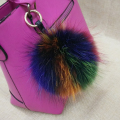Multi Colored  fur key chain Girl Fashion soft Trendy Real raccoon fur Ball Round key ring For Bag fur pom pom Women keychain