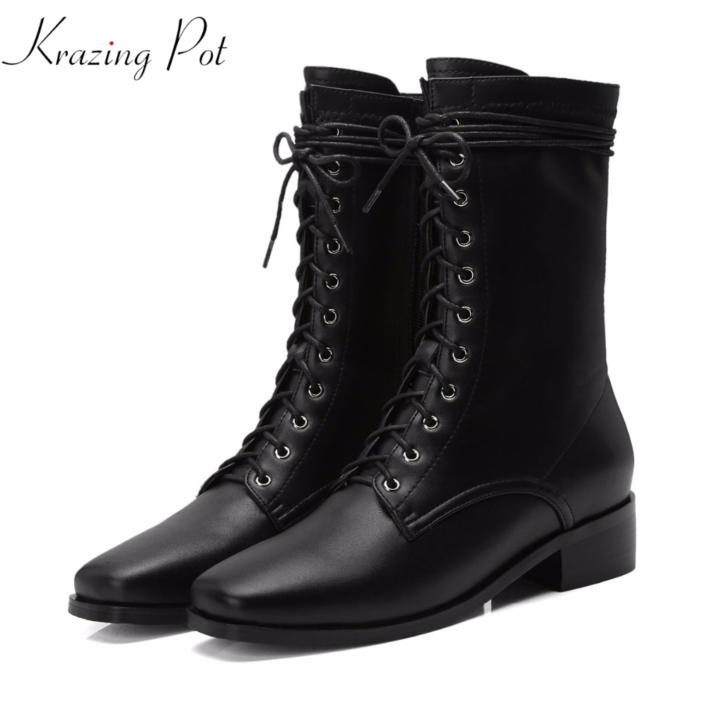 Krazing Pot genuine leather gorgeous rivets keep warm square heels black color round toe office lady western cowboy boots L14