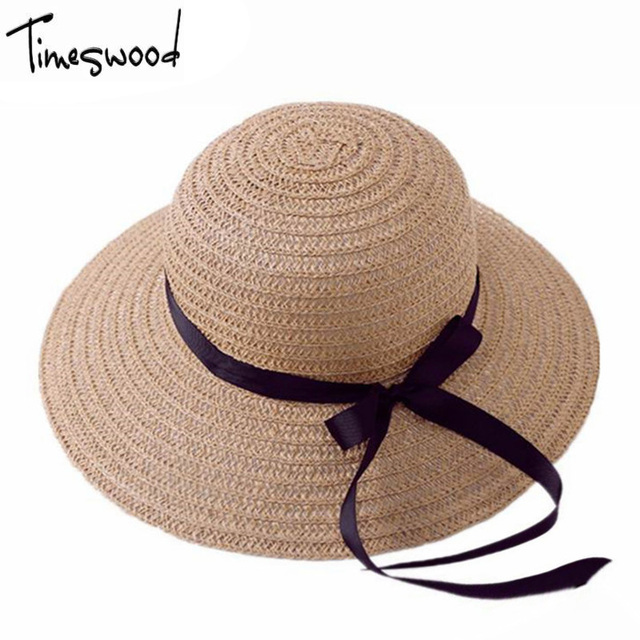 TIMESWOOD  Summer Sun Hat Women Straw Cap Ladies White Chinese Khaki  Korean Japanese Style Designer Sun Protection Hats 73e874fc2f1
