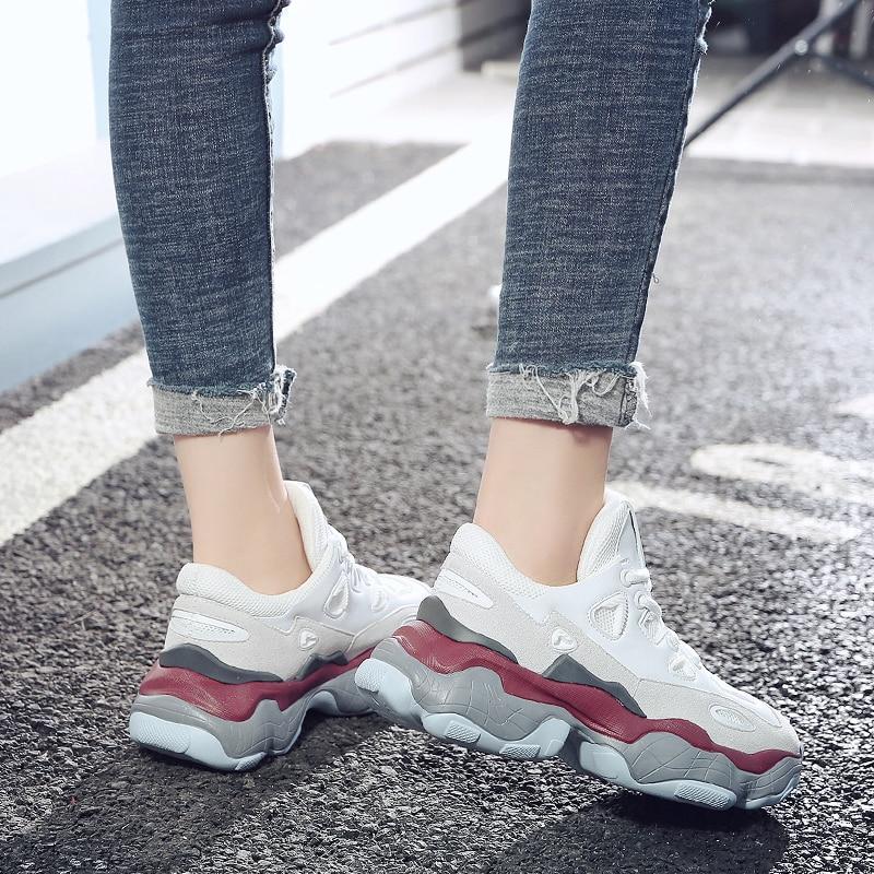 Printemps Véritable Sneakers Haute Casual 2019 Chunky Cuir forme Beige Plate Harajuku Chaussures En rose Qualité Nouveau blanc Femmes Braisé Papa qFF0t