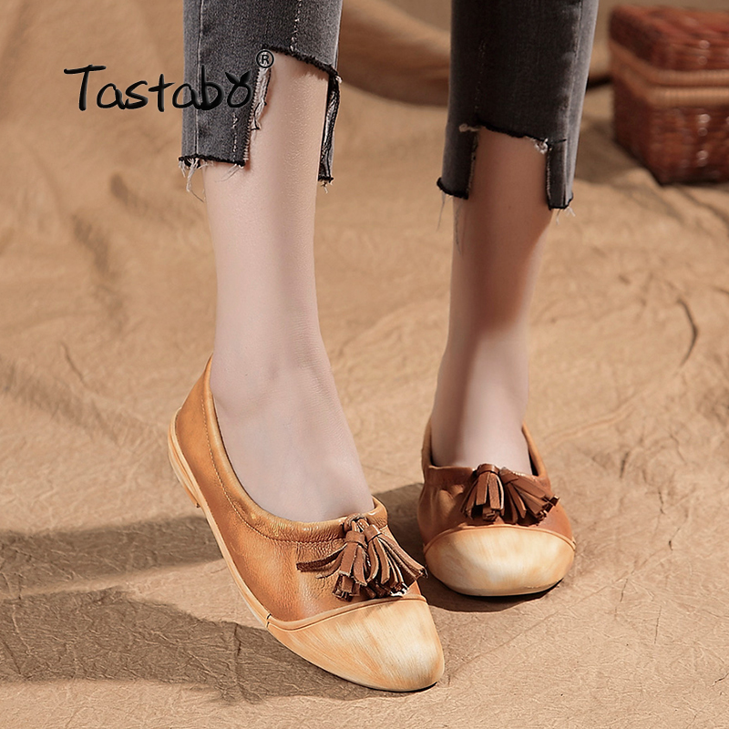 Tastabo Summer Genuine Leather Tassel Pointed Toe Casual Shoes Spring Flats Slip on Shoes for Women sweet women high quality bowtie pointed toe flock flat shoes women casual summer ladies slip on casual zapatos mujer bt123