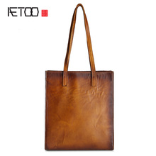 AETOO 2017 original simple vintage cow leather handbags women first layer of leather hand rubbing shoulder bag shopping bags