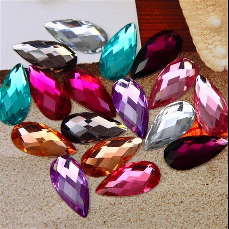 9*20 мм разноцветный водослива Смола горный хрусталь 50 шт. в одной партии для DIY мотив одежда/свадебное платье/ обувь