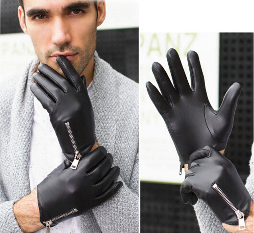 7cd9320cb7a002 Winter Herren Lederhandschuhe Mode Mann Ziegenleder Handschuhe Echte  Italien Leder Handschuhe Reißverschluss Stil Kühlen Handschuh A-MJK0703. 10  11 12