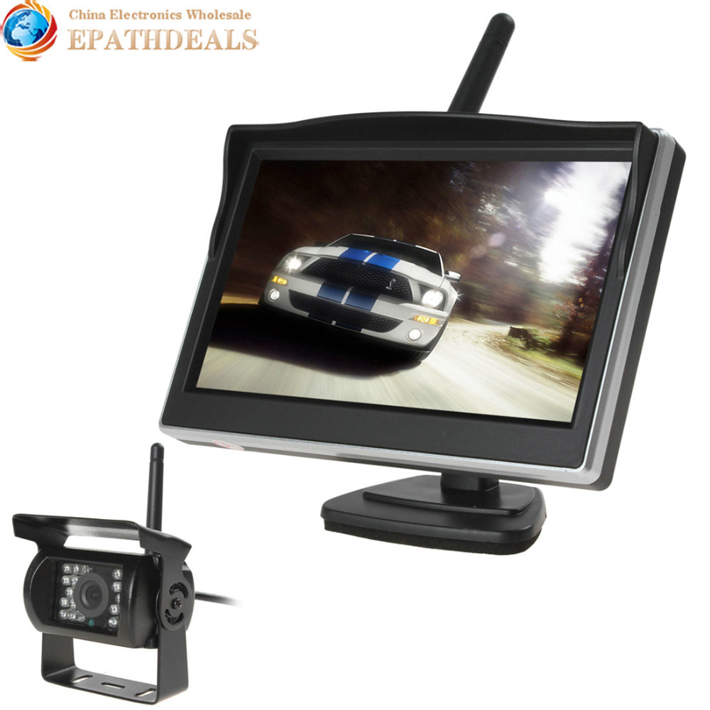 2.4GHz Wireless Car Rear View Monitor 5 Inch TFT LCD 800 x 480 Car Rearview Parking Monitor + Auto Car Backup Reverse Camera 7 inch tft lcd color auto car monitor 2 video input car rear view parking monitor wireless 10 ir car rear view reverse camera