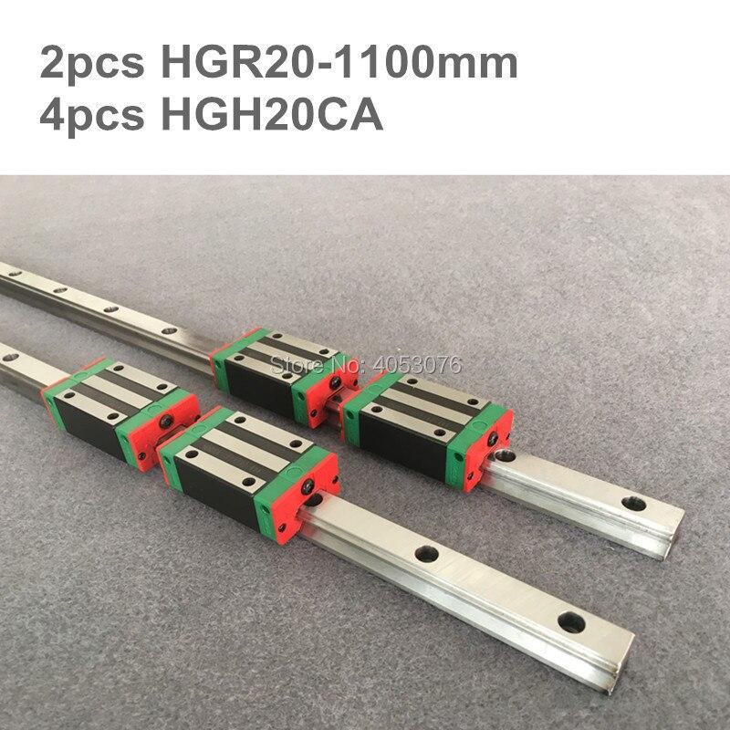 2 pz 1100mm Lineari della guida di guida lineare HGR20 e 4 pz HGH20CA lineare blocchi cuscinetto per le parti CNC2 pz 1100mm Lineari della guida di guida lineare HGR20 e 4 pz HGH20CA lineare blocchi cuscinetto per le parti CNC