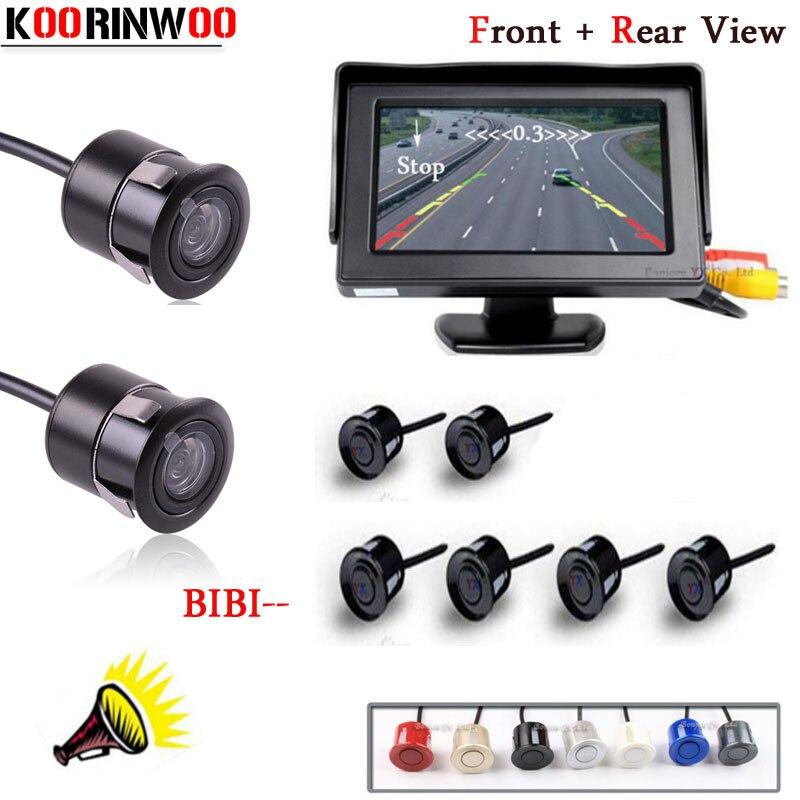 KOORINWOO ensemble complet 4.3 TFT LCD moniteur de voiture Parktronic 12 V système de Radars arrière système vidéo 6 capteurs alarme avec caméra de sauvegarde de véhicule