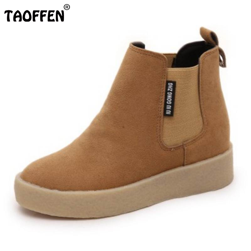 TAOFFEN Women Mid Calf Boots Platform Short Boots Thick Bottom Shoes Autumn Shoes Warm Short Botas Women Footwears Size 35-39 zippers double buckle platform mid calf boots