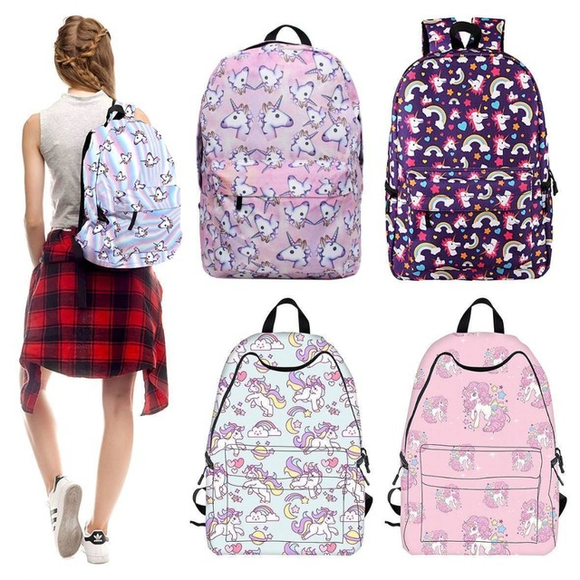 2ca785ae86 New Girls Women Rainbow Unicorn Backpack Rucksack School Travel Shoulder Bag  Satchel Fashion Ladies High Quality