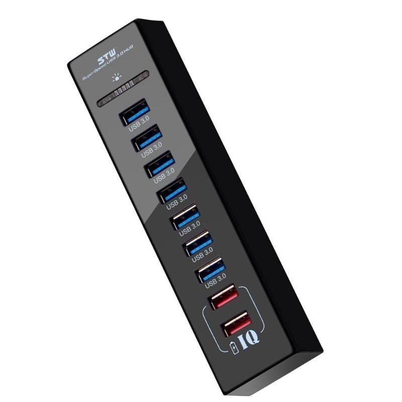 Portable Quick Charging Sync Hub 7 ports USB3.0 + 2 IQ Ports Power Supply USB3.0 Hub With US Plug Adapter For Computer Laptop fe2 1 usb2 0 hub data hub controller 1 drag 7 self dual mode bus power supply module board