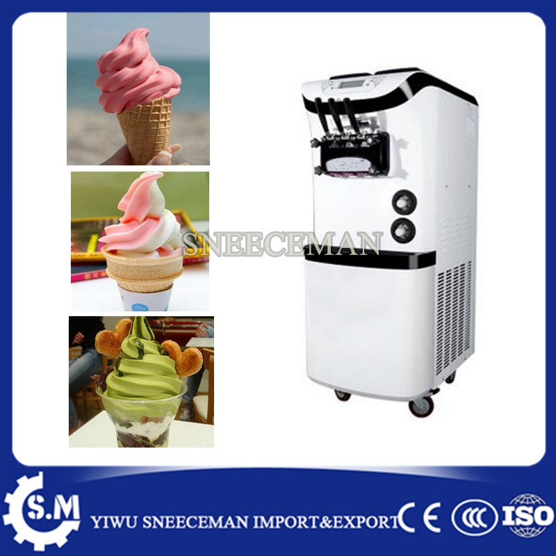 38-45L/H 3 Flavor Yogurt Soft Ice Cream Maker Machine with 3 heads commercial soft ice cream vending machine edtid new high quality small commercial ice machine household ice machine tea milk shop