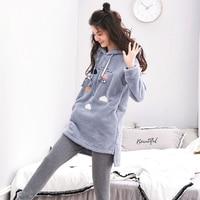 New Arrive Girl Sleepwear Female Winter Flannel Lounge Thickening Coral Fleece Hooded Long sleeve Nightgrown Nightdress Pajamas