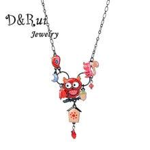D&Rui Jewelry Cute Enamel Statement Necklace Fashion Woman Pendants Black Cartoon Animal Owl Birds Chain Women Choker