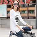 Fashion Long Tunic Tops For Women Long Sleeve Tshirt  Cotton Clothes T Shirt Women Plus Size Female T-shirt  White Winter Tops