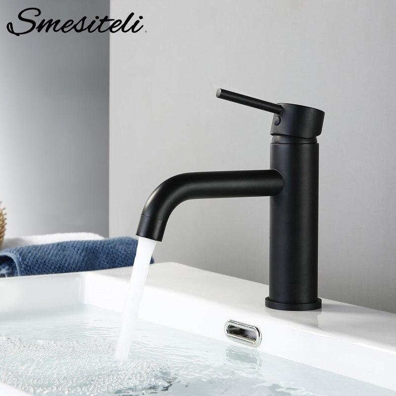 Smesiteli robinets de bassin Promotions robinet de salle de bain rond mat noir or Rose bassin mitigeur salle de bain petit évier robinet