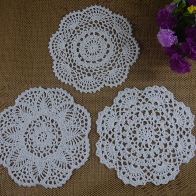 Handmade crochet doilies patterns round 8 20cm table napkin pad round vintage wedding home - Decoration au crochet ...
