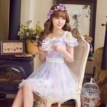 Милое платье принцессы в стиле Лолиты милое кружевное шифоновое Полосатое платье на бретельках с поясом в японском стиле C16AB6082