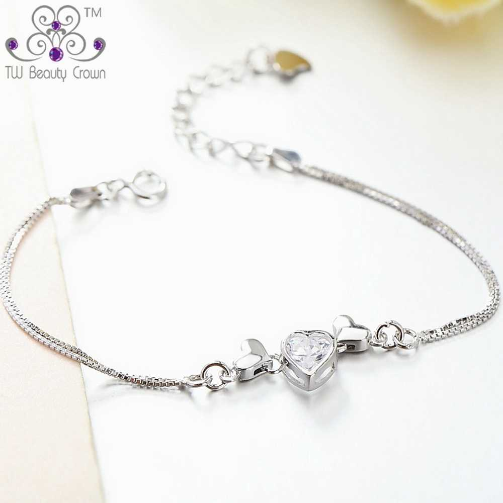 100% Real 925 Pure Silver Purple White Cubic Zirconia Angel Wing Love Heart Chain & Link Bracelets For Women Female accessories