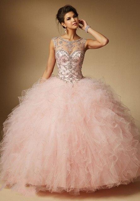 Novo 2016 Hot Pink Azul Coral Vestidos Quinceanera vestido de Baile Beading Vestidos de tule Doce 16 Vestidos Vestidos De Festa de 15 Anos QR29