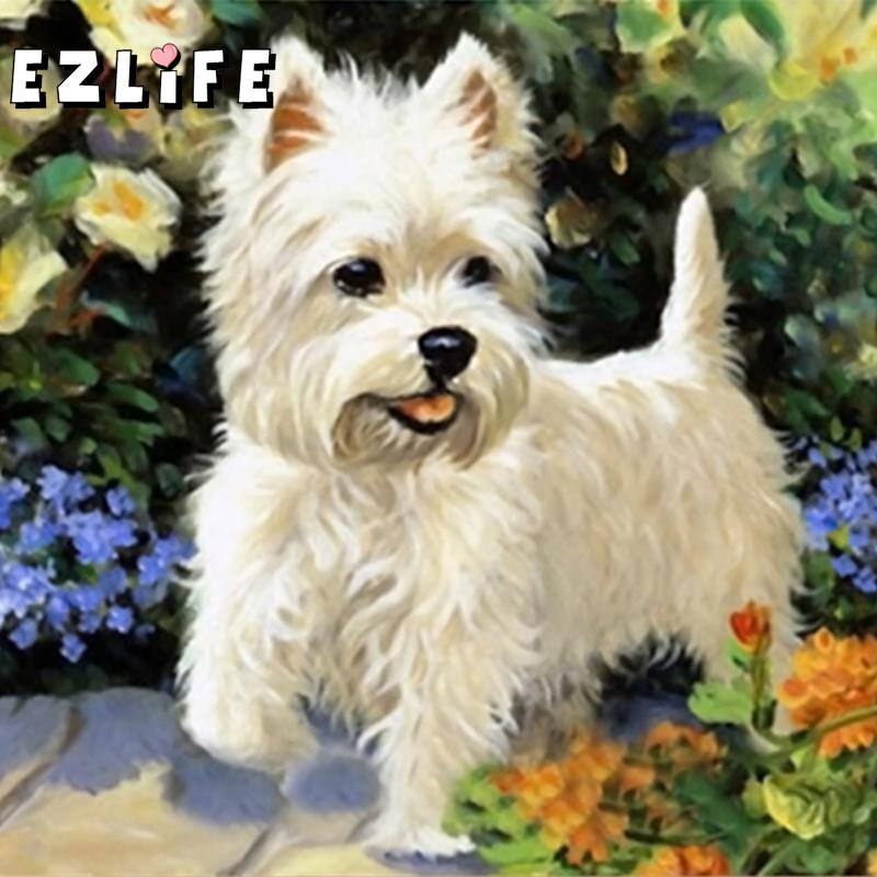NEW 3D DIY Diamond Painting Cross Stitch Cute Pet Dog Crystal Needlework Embroidery Full Diamond Decor Cross Stitch XY0046