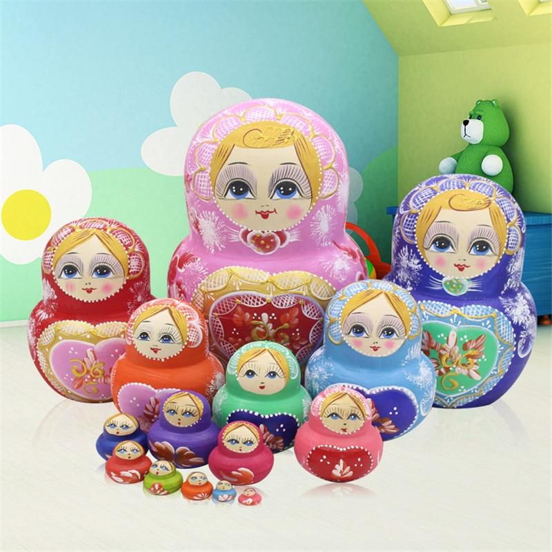 Poupées russes 15 couches Basswood sec authentique coloré peint à la main en bois matriochka nid poupées éducation bricolage jouets L30
