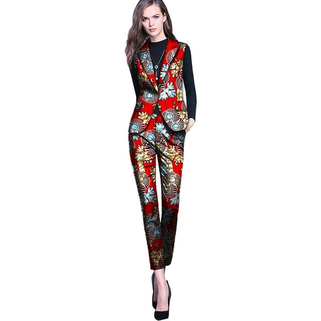58f962c739c Élégant mode imprimé africain femmes gilet avec pantalon ensemble pantalon  + blazer ensembles dashiki pantalon costume