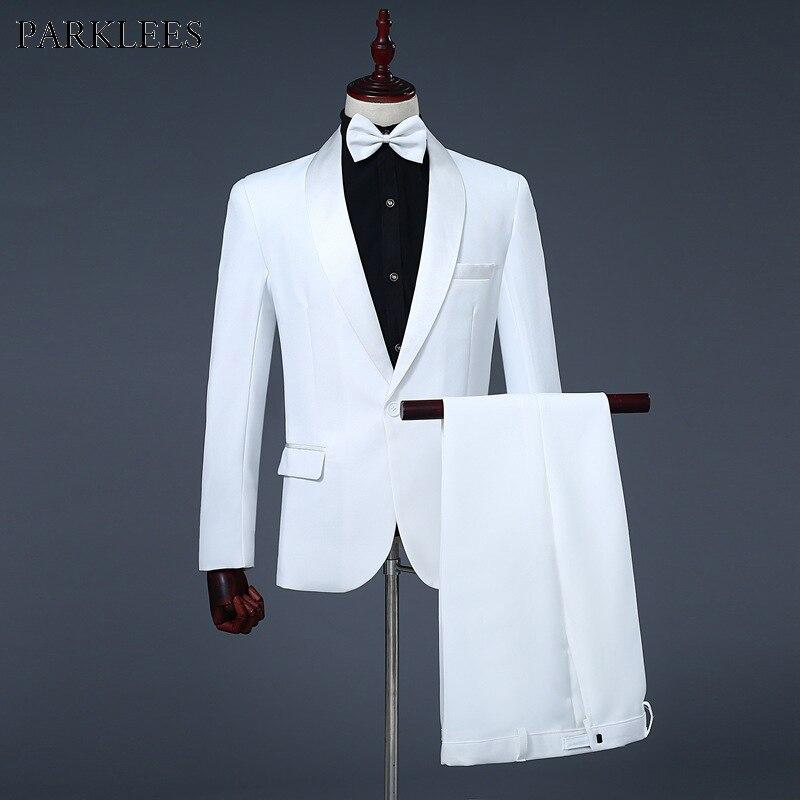 Heren Sjaalkraag Een Knop 3 pcs Tuxedo Suits (Jas + Broek + Bowtie) brand Slim Bruiloft Party Host Stage Terno Masculino Wit-in Pakken van Mannenkleding op  Groep 1