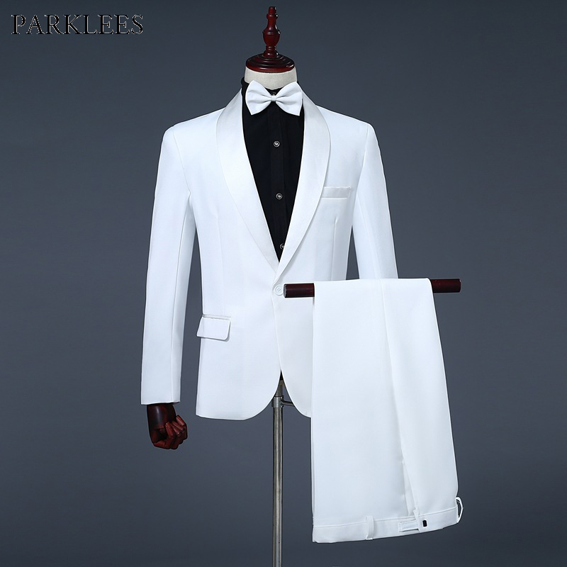 Mens Shawl Collar One Button 3pcs Tuxedo Suits  Jacket Pants Bowtie  Brand Slim Wedding Party Host Stage Terno Masculino White