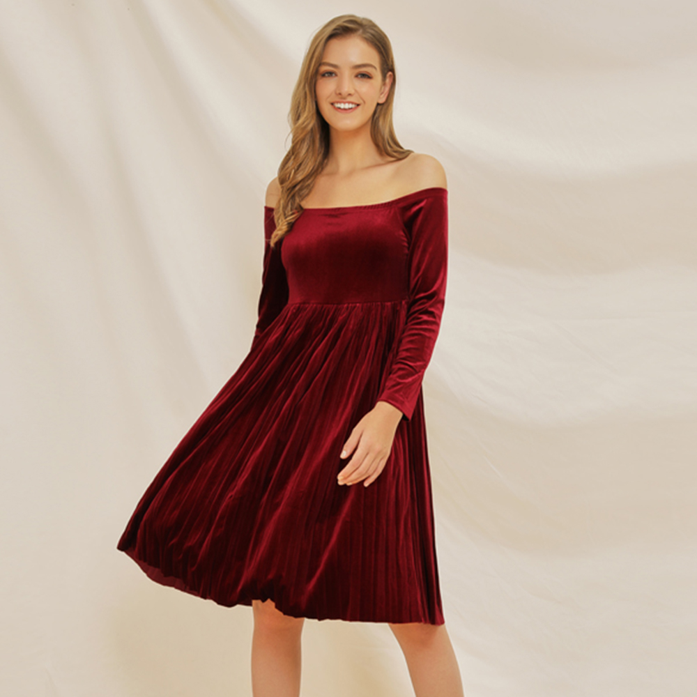 Womens Dress Ladies Cocktail Summer Off Shoulder Casual Stylish Plus Size Solid Color Retro Clubwear Knee Length